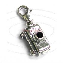 Sterling Silver Cute Camera Dangle Pendant for European Lobster Clip on Charm