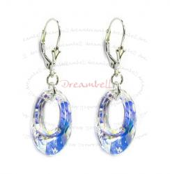 "2x Sterling Silver Clear AB Crystals Leverback 1.5"" Dangle Earrings Using Swarovski Elements Crystal"