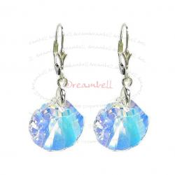 "2x Sterling Silver Seashell Clear AB Crystals Leverback 1.5"" Dangle Earrings Using Swarovski Elements Crystal"