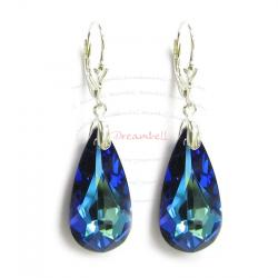2x Sterling Silver Teardrop Bermuda Blue Crystals Leverback Dangle Earrings Using Swarovski Elements Crystal