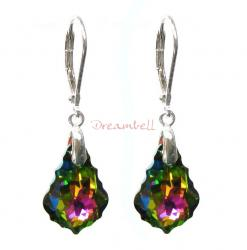 2x Sterling Silver Baroque Vitrial Medium Crystals Leverback Dangle Earrings Using Swarovski Elements Crystal