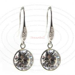 2x Rhodium Sterling Silver Clear CZ Crystal Charm Dangle French Hook Earwire Earring