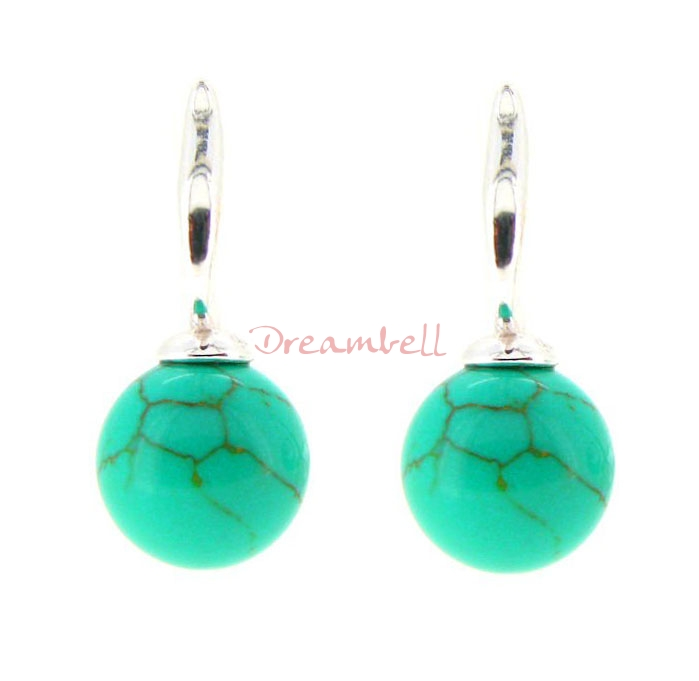 2x Sterling Silver 10mm Round Turquoise Ball Dangle Stud Earring Post