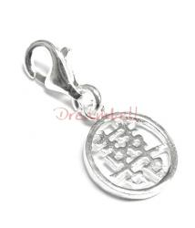 "Sterling Silver Chinese Word DOUBLE HAPPINESS"" Dangle Charm for European Style  Clip on Charm"""