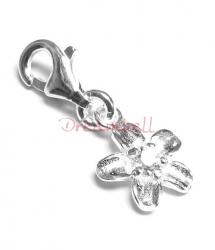 Sterling silver CZ crystal Flower Dangle Charm Pendant for European Style  Clip on Charm