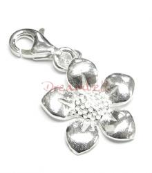 Bright Sterling silver FLOWER (SUNFLOWER) dangle Charm for European Style  Clip on Charm