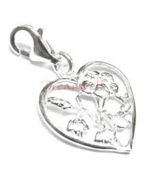 Bright Sterling silver FLOWER Heart dangle Charm for European Style  Clip on Charm