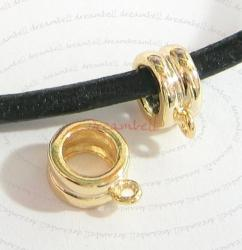 1x 14k Real Gold silver Pendant Charm Connector Cord Ring Slide for European Charm Bracelets