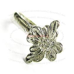 1 x  Rhodium plated STERLING SILVER  FLOWER PENDANT Connector BAIL CLASP