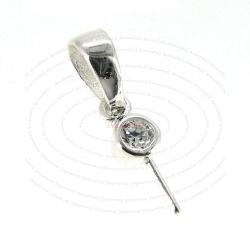 1x Sterling Silver CZ Crystal Bail Pin Pearl Pendant Connector