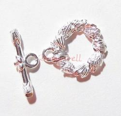 1x 2 Sterling Silver Round Flower Bead Toggle Clasp 14mm