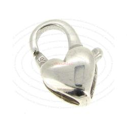 1x Italian STERLING SILVER HEART LOBSTER CLASP (7x13mm)