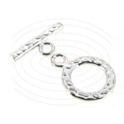 1x Sterling Silver Textured Bead Toggle clasp 12mm