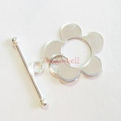 1x Bright Sterling silver Flower Toggle Clasp Bead 18mm