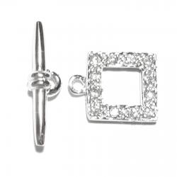 1x 925 Sterling Silver Crystal CZ Crystal Square Bead Toggle Clasp 10mm