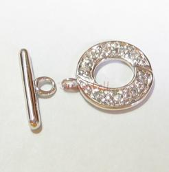 1x STERLING SILVER CZ Crystal Round TOGGLE CLASP 14mm