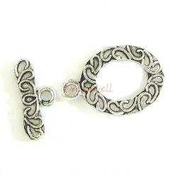 1x Sterling Silver Oval toggle Bead clasp 15mm