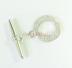 1x 925 Sterling Silver Crystal CZ Bead Round Toggle clasp 11.2mm