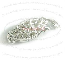 1x 925 Classic Sterling Silver FILIGREE NUT PEARL BOX HOOK CLASP 12mm