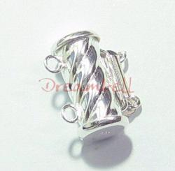 1x Sterling Silver 2 Strand tube  Pearl Box Clasp