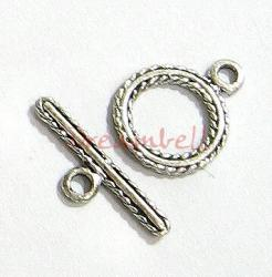 1x Bali Sterling silver TWISTED ROPE Toggle Clasp 10mm