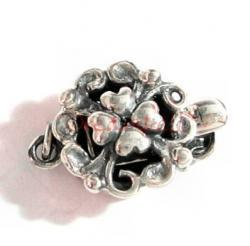 1x ANTIQUE STERLING SILVER HEART FLOWER 1-STRAND  Pearl Box CLASP 14mm