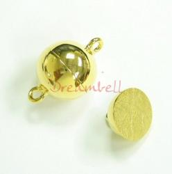 1x 14K Real Gold Plated over Sterling Silver 1 strand Round Ball Magnetic Clasp 12mm