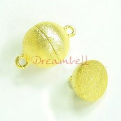 1x 14K Real Gold Plated over Sterling Silver 1 strand Round Ball Stardust Magnetic Clasp 14mm