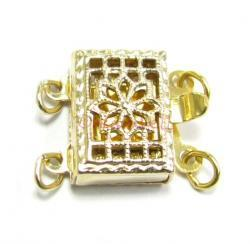 1x 14k Gold Filled CLASSIC Rectangular FILIGREE 2-strand PEARL BOX CLASP 11.5MM