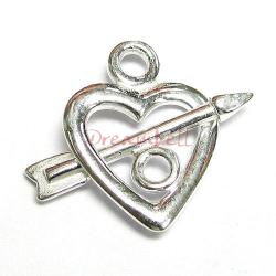 2X STERLING Silver Sweet Heart Arrow Toggle Clasp BEAD 14mm