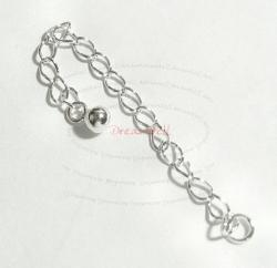 2x STERLING SILVER Chain Extender w/ DOTS BALL 55mm