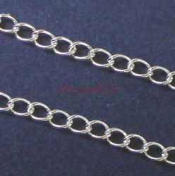 "12"" x Sterling Silver Oval Diamond CABLE Link Chain bead 3.6mmx2.4mm"