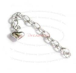 2x STERLING SILVER Bead Chain Extender w/ 7mm PUFF HEART 2""
