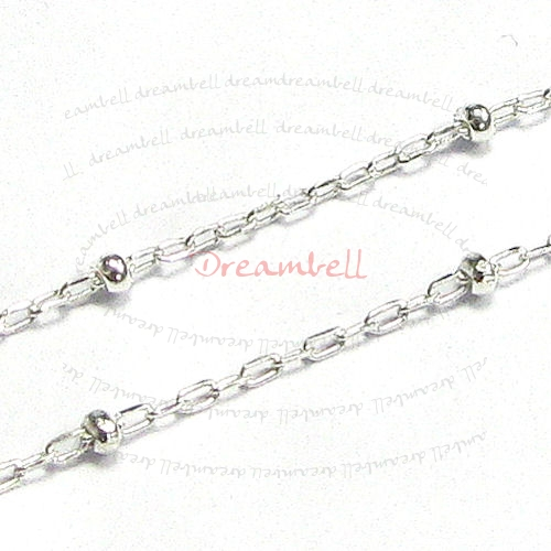 "12"" Sterling silver bead 1.5mm BALL Link Chain"