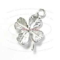 1x Sterling Silver Four Clover Leaf Dangle Charm 12mm