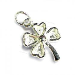 1x Sterling Silver Four Clover Leaf Lucky Dangle Charm Pendant 15mm