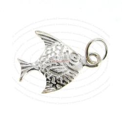 1x Sterling Silver ANGEL FISH charm dangle pendant 17mm
