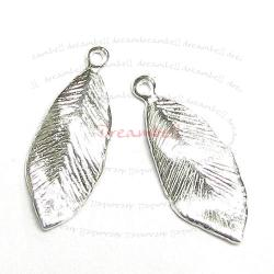 2x Sterling Silver Leaf Bead charm Pendant 18.5mm