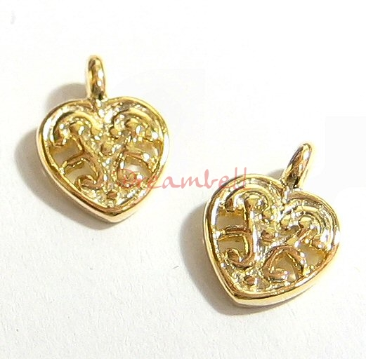 Vermeil 14K Real Gold SILVER  SWEET HEART DANGLE CHARM SPARCER 8.5mm