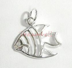 1x Bright Sterling silver FISH dangle Charm bead 17mm
