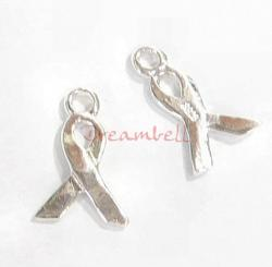 4x Bright Sterling silver RIBBON Breast Cancer dangle Charm 13mm
