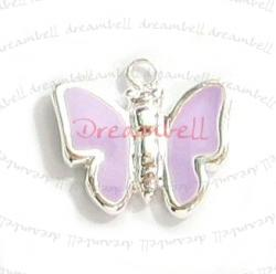 1x Bright Sterling silver LITTLE BUTTERFLY  Enamel dangle Charm 10mm