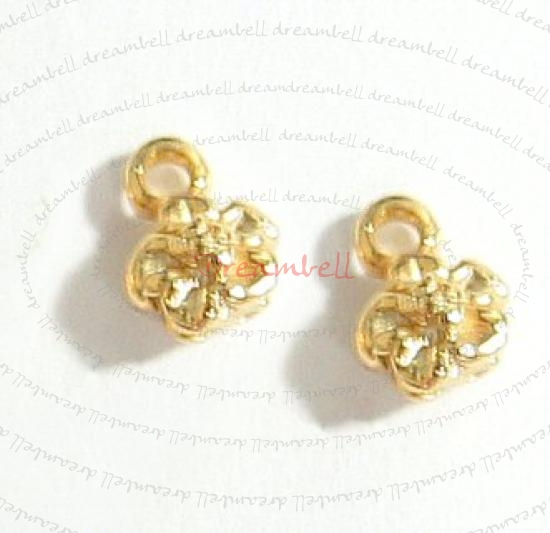2x 14K Real Gold plated Sterling silver LITTLE DAISY FLOWER dangle Charm 7.5mm