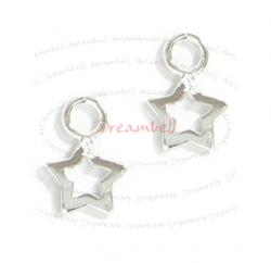 4x Bright Sterling silver LITTLE TWINKLE STAR dangle Charm 10mm