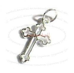 STERLING SILVER JESUS CHRIST CROSS DANGLE CHARM PENDANT 19mm