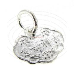 Sterling Silver Chinese Greeting Word LONG LIFE FORTUNE Dangle Charm Bead