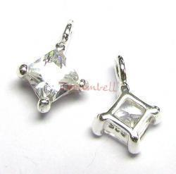 2x STERLING SILVER Square CZ DANGLE CHARM PENDANT 9.5mm