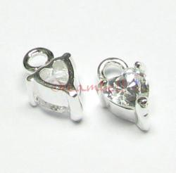2x STERLING SILVER Heart CZ Crystal Dangle charm 5mm
