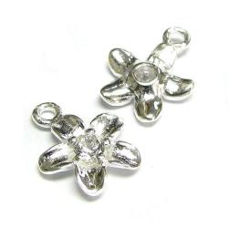 2x Bright Sterling silver CZ crystal Flower Dangle Charm Pendant