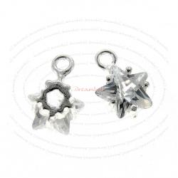 2x STERLING SILVER TWINKLE STAR CZ Crystal Dangle charm 6mm